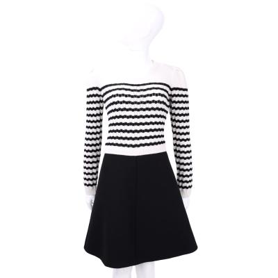 RED VALENTINO 黑白色條紋針織拼接長袖洋裝