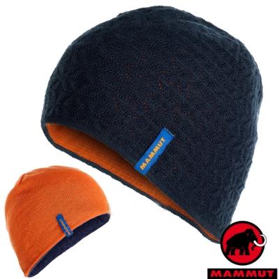 【MAMMUT 長毛象】中性新款 Nordwand 雙層雙面保暖帽子.針織_夜藍/日出橙