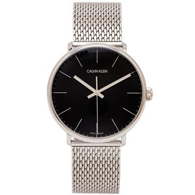 CK Calvin Klein圓弧鏡面款銀色米蘭帶手錶(K8M21121)-黑面/39mm