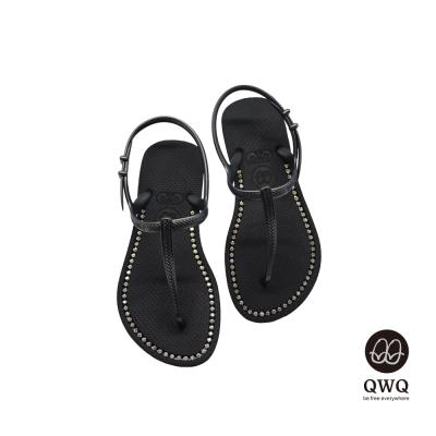 QWQ夾拖的創意(女) -璀璨面鑽涼鞋-爵士黑