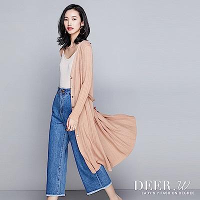 DEER.W 排釦綁帶針織長版罩衫(共五色)