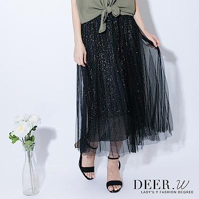 DEER.W 金蔥釘珠百褶紗裙(黑色)