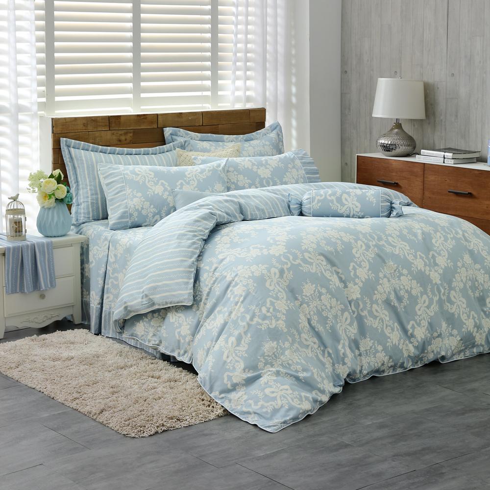 鴻宇HongYew 100%精梳棉 費加洛婚禮 藍  雙人七件式兩用被床罩組