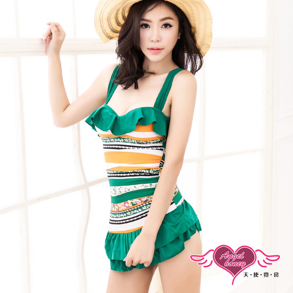 天使霓裳 夏戀海灘 一件式連身泳衣(綠M~XL)