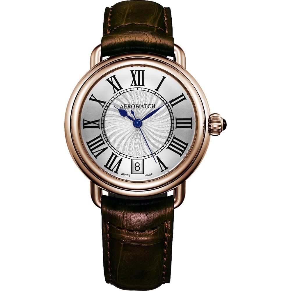 AEROWATCH 雅緻扭索時尚腕錶-銀x玫塊金框/35mm