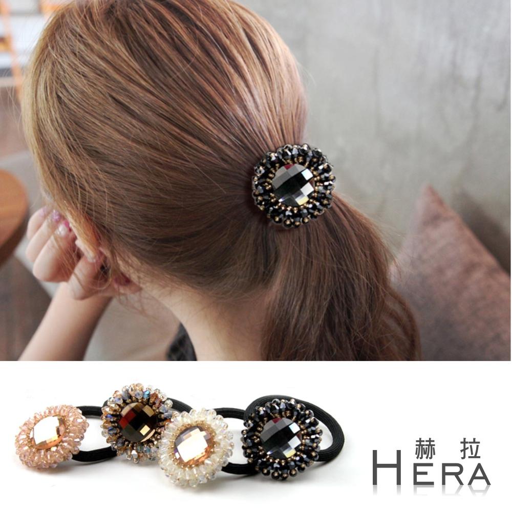 Hera 赫拉 手工水晶串珠寶石花朵髮圈/髮束-四色