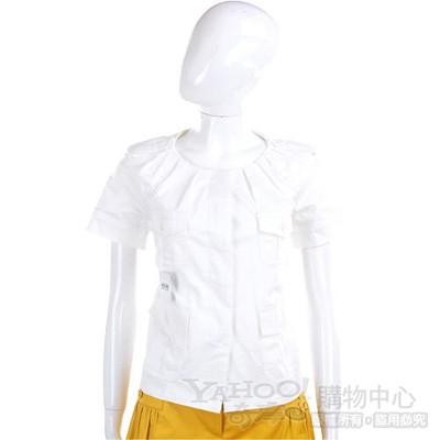 MOSCHINO 白色抓摺設計短袖小外套
