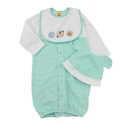 愛的世界 MYBABY 純棉小狗長袖兩用嬰衣3件組禮盒/3~6M