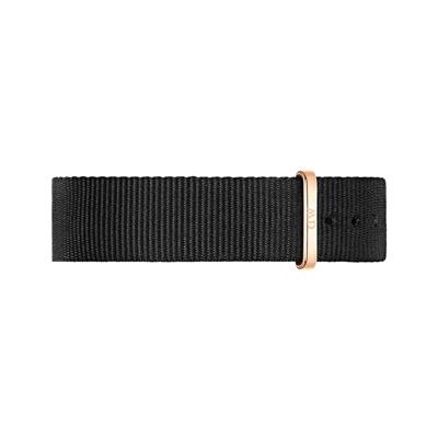 Daniel Wellington 原廠玫瑰金扣尼龍錶帶-黑色/18mm