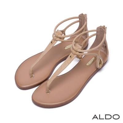 ALDO-原色蛇紋金屬鏤空水滴T字繫帶涼鞋-氣質裸