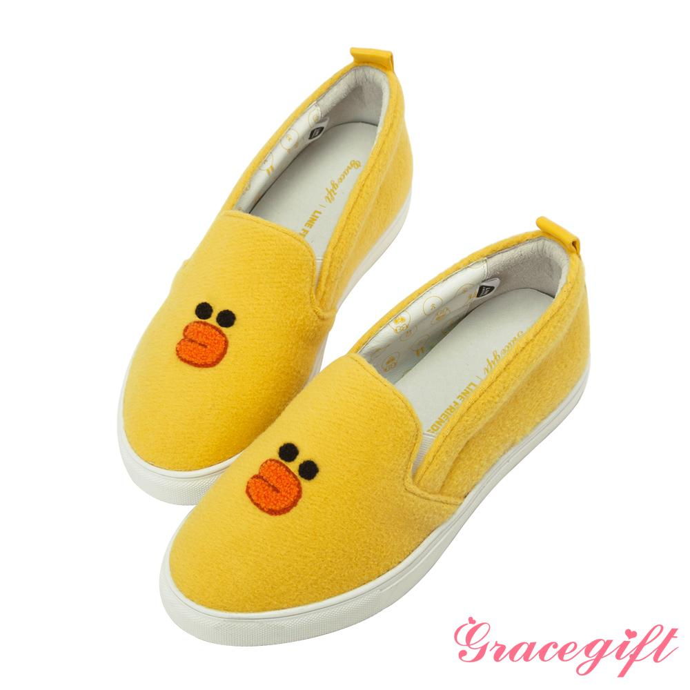 Grace gift│LINE FRIENDS-立體毛絨休閒懶人鞋 黃