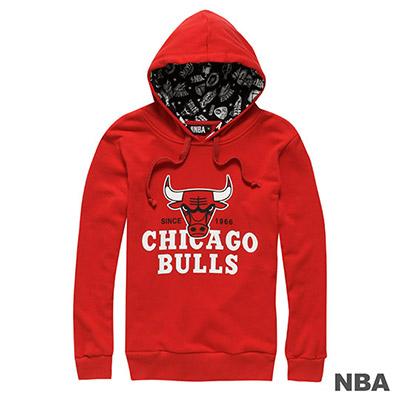 NBA-芝加哥公牛隊大圖印花連帽長袖厚T恤-紅-女