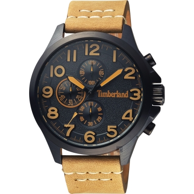 Timberland天柏嵐 Brenton 三眼計時手錶-黑x卡其錶帶/46mm