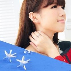 維克維娜 蔚藍星情。立體造型小海星貼耳 925純銀耳環