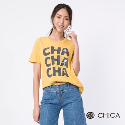 CHICA 翻滾喵喵字母圖騰造型上衣(3色)