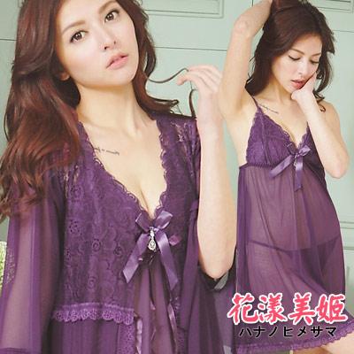 罩衫三件式睡衣裙組 胸墊款 奢華網紗 絕美印花深V水鑽 (紫) 花漾美姬