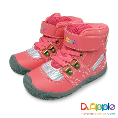 Dr. Apple 機能童鞋 斑馬紋帥氣大人風短筒童靴 粉