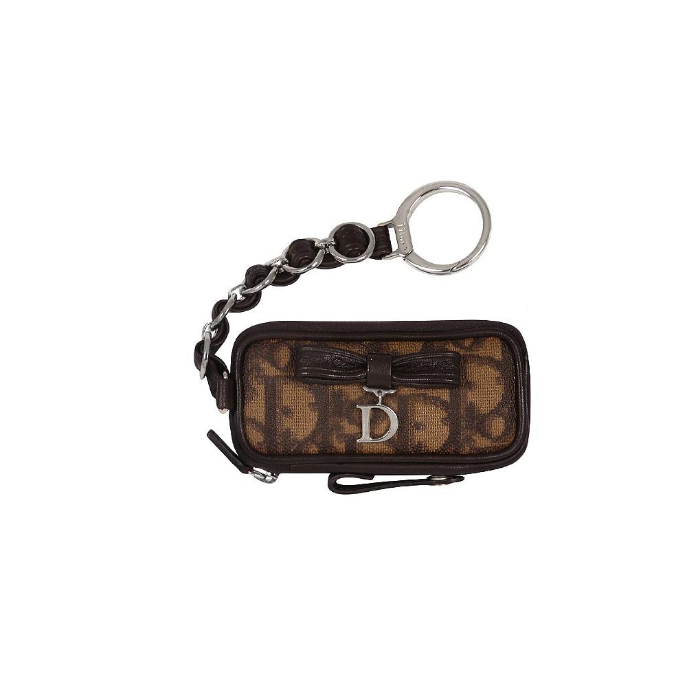 Christian Dior 咖啡色真皮LOGO鍊帶鑰匙零錢包