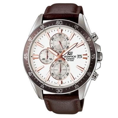 EDIFICE 經典三針三圈設計視距儀賽車皮帶錶(EFR-546L-7A)-咖啡X白面/47mm