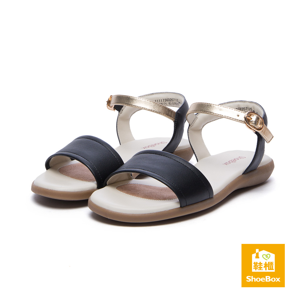 達芙妮DAPHNE ShoeBox系列 涼鞋-一字帶繞踝簡約金屬涼鞋-黑