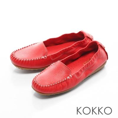 KOKKO - 人氣真皮彈力彎折豆豆樂福鞋 - 石榴紅