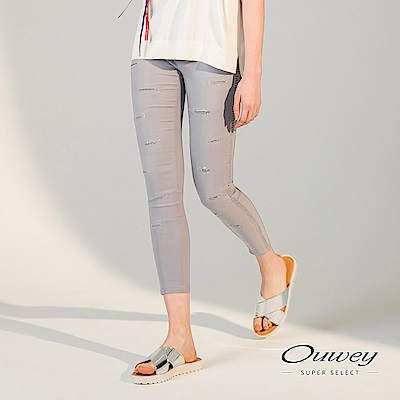 OUWEY歐薇 時尚剪接挖洞彈性窄管褲(灰)