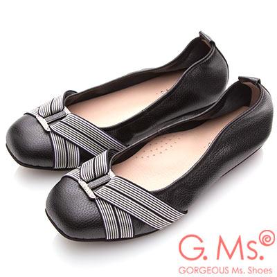 G.Ms. MIT系列-牛皮方頭鬆緊帶鑽飾娃娃鞋-黑色