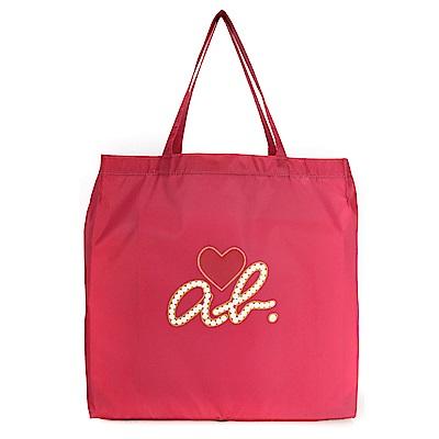 agnes b. 經典ab Heart購物袋-桃紅色