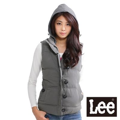 Lee-可拆帽-立領鋪棉背心-女款-綠