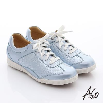 A.S.O 輕量抗震 珠光真皮綁帶奈米休閒鞋 淺藍
