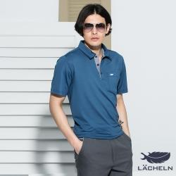 【LACHELN】Coolmax吸排抗UV彈力POLO衫-灰藍L72M907
