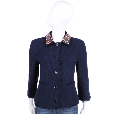 TRUSSARDI 深藍色彩珠綴飾排釦針織外套