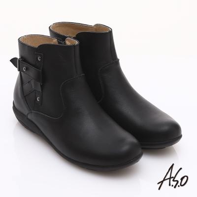 A.S.O 都會休閒 柔軟真皮側邊拉鏈奈米短靴 黑