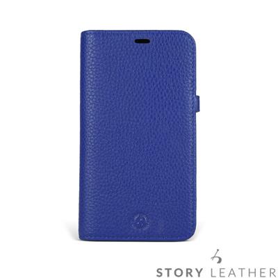 STORYLEATHER iPhone X 筆記本款硬殼 荔枝紋電光藍現貨皮套