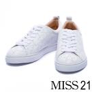 休閒鞋 MISS 21 帥氣沖孔星星牛皮綁帶休閒鞋-白