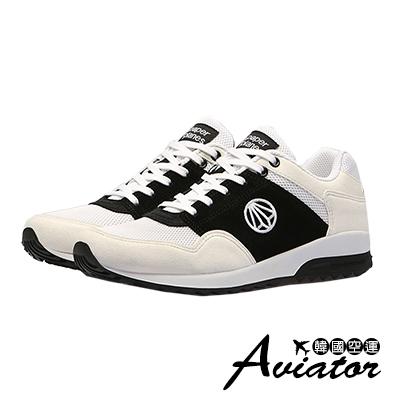 Aviator*韓國空運-Paperplane-正韓製麂皮透氣網布運動鞋-黑米