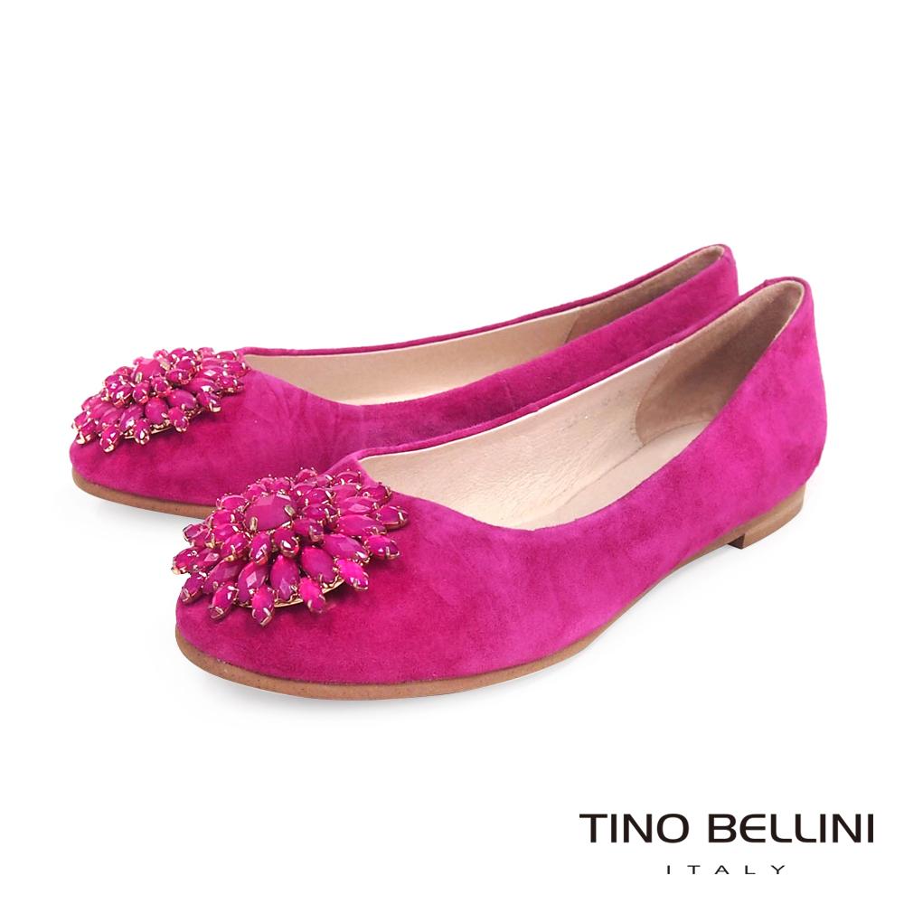 Tino Bellini 潾潾波光寶石花環娃娃鞋_桃紅