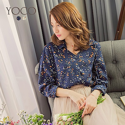 東京著衣-yoco 綠意春遊滿版印花V領襯衫-S.M.L(共二色)