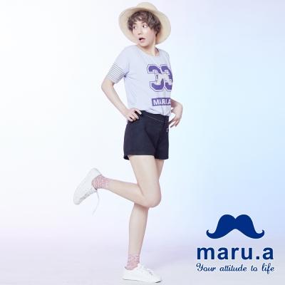 maru-a麻洛野-鬍子拉鍊設計短褲