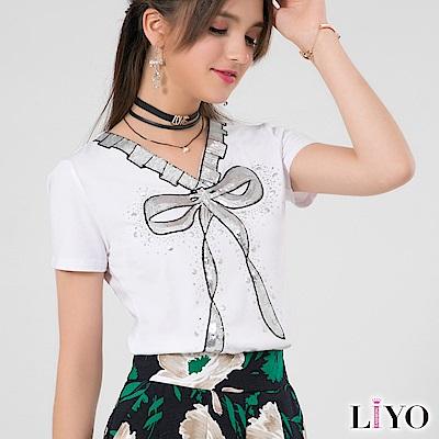 LIYO理優蝴蝶結印花V領T恤(白)
