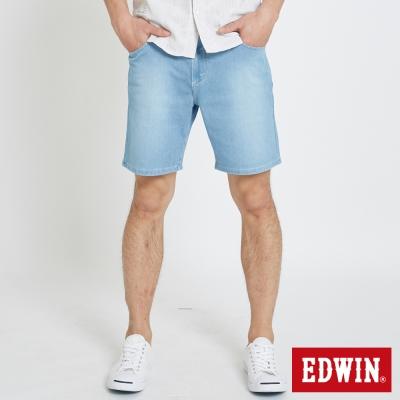 EDWIN 迦績褲JERSEY棉感寬版短褲-男-漂淺藍