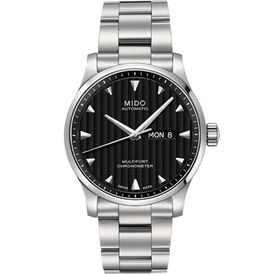 MIDO 美度 Multifort 先鋒系列經典機械腕錶-黑x銀/42mm