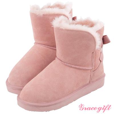 Grace gift-真皮後蝴蝶綁結雪靴 粉