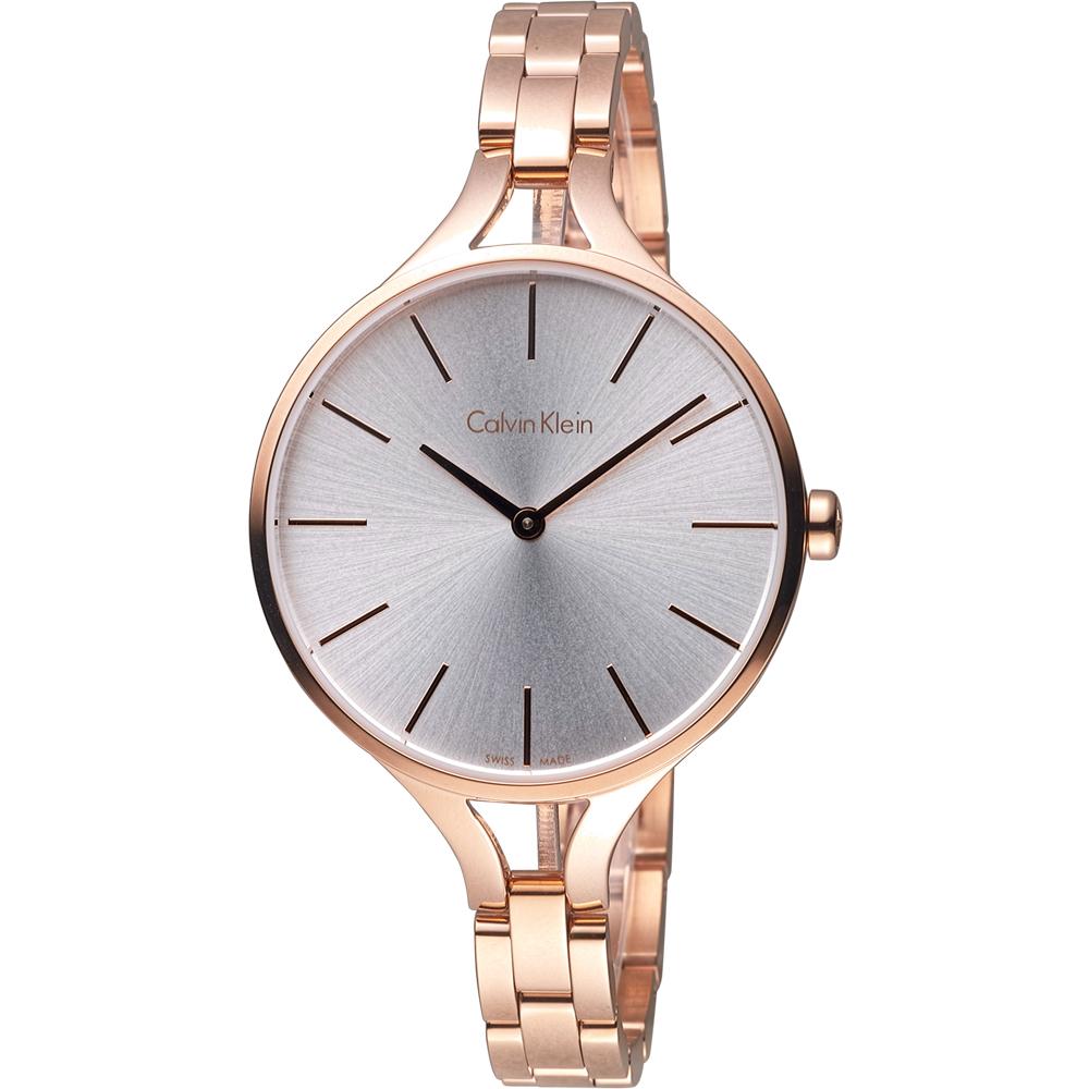 CK Calvin Klein graphic 閃亮的日子氣質腕錶-玫瑰金色/36mm