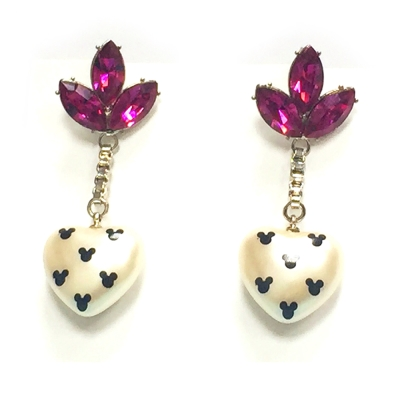 迪士尼 DISNEY COUTURE 米妮系列 桃紅水晶花瓣 珍珠白愛心 垂墜式耳環