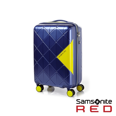 Samsonite-RED-20吋GEOMET菱格幾何線條硬殼TSA登機箱-深藍-亮黃