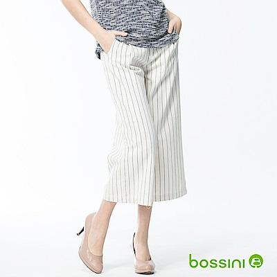 bossini女裝-條紋七分寬褲自然白