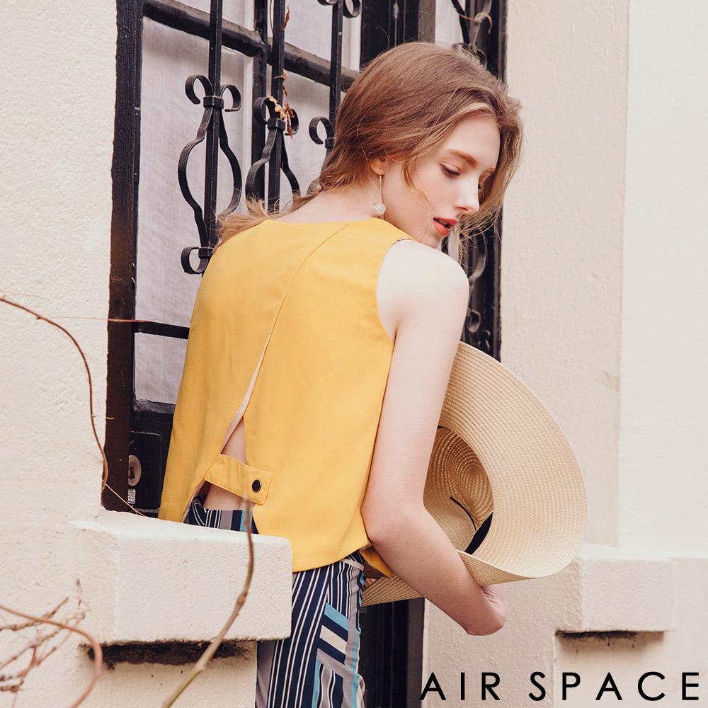AIR SPACE 聯名背交叉剪裁無袖上衣(黃)