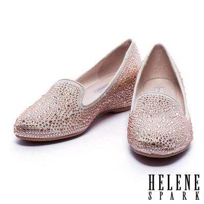 平底鞋 HELENE SPARK 奢華亮眼絢艷晶鑽緞布內增高樂福鞋-杏
