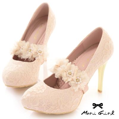 Mori girl可拆花朵鞋束帶2way蕾絲金跟高跟鞋 粉